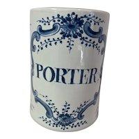 """OUD (Old) Delft Williamsburg Restoration """"Porter"""" Tankard Large 1 qt. Blue White Holland"""