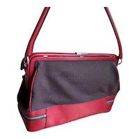 Genuine PRADA Designer Hand Bag Purse Red & Brown Italian Hidden Compartment