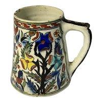Hand Painted Thrown Persian Qajar Polychrome Glaze Pottery Mug Pre-1800