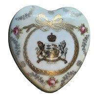 Antique English Victoria Ware Porcelain Heart Shaped Box w DOUGLAS Coat of Arms