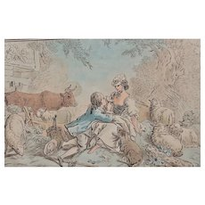 Jean-Baptiste Huet (French 1745-1811) after, antique aquatint etching