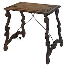 Spanish side table with lyre legs, 19th century