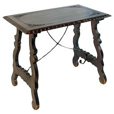 Spanish baroque side table with lyre legs, early 19th century