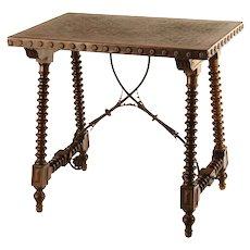 A 16th century Spanish style walnut trestle table.