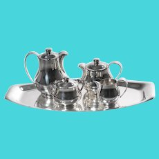 Wiskemann Tea and Coffee Service, Art Deco, Silver plated