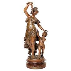 Sculpture, Bacchante with putto, late 19th century -Eugène Capy (1829 - 1894)