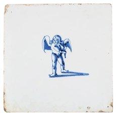 Dutch Delft tile - Earthenware (Cupid) Netherlands 17th century