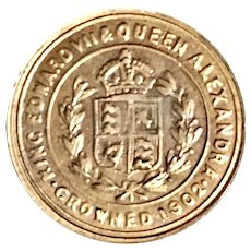 Antique Rare 1902 Error Double Die Reverse King Edward VII & Queen Alexandra Crowned Coin