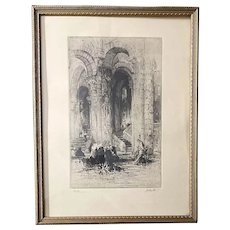 """French Artist Hedley Fitton (1859-1929) Original Signed Etching """"Devotion"""" & Supporting Document"""