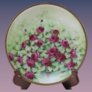 Richard Ginori Italy Hand Painted Ruby Roses, Signed O. Tei
