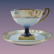 Jean Pouyat Limoges Pedestal Cup and Saucer, Signed, Pink Roses