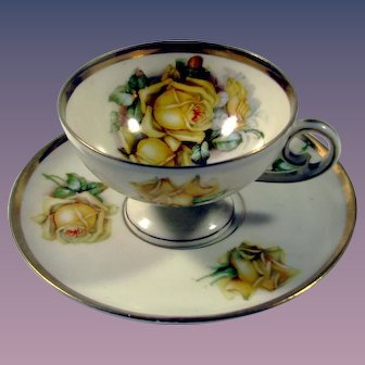 E S Germany Pedestal Cup & Saucer with Yellow Roses