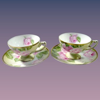 Pair of Rosenthal Hand Painted Tea Cup & Saucer with Pink Roses, artist Signed
