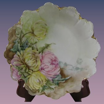 Hand Painted Rosenthal Plate, Pink and Yellow Chrysanthemum