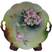 A K Limoges Hand Painted Dogwood Flowers Cake Plate