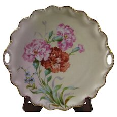 Hand Painted Coiffe, Flambeau Limoges Cake plate, Red, Pink Carnations, Artist signed