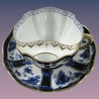 Colbalt Royal Crown derby Chatsworth Mustache/Moustache Cup