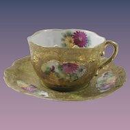 Nippon Hand Painted Gold Moriage Mustache/Moustache cup and Saucer
