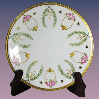 French Limoges hand painted porcelain plate