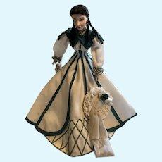 Franklin Mint - Scarlett Doll - wearing white/green dress seen while walking Bonnie - good condition