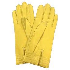 Vintage Hermès Women's Bright Yellow Leather Gloves Size 7