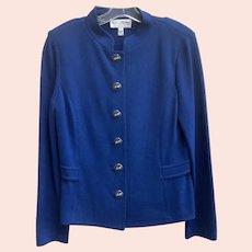 Vintage Royal Blue St. John's Knit Button Front Jacket/Blazer