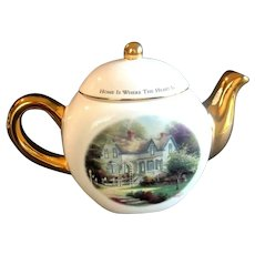 """Thomas Kinkade Floral Teapot, Landscaped Country Cottage, """"Home is Where The Heart Is"""""""
