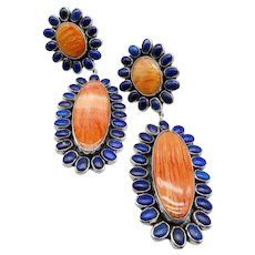 """Federico Jimenez-Lusciously HUGE-Highly Sophisticated-Spiny Oyster Shell-Lapis Cluster Halo CLIP 925 POWERHOUSE Earrings-4-1/4""""!"""