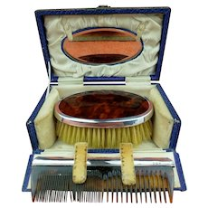 Antique Sterling Silver Hallmarked Case Tortoise Shell Brush & Comb Set 1926