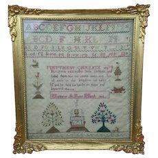 "Antique Christmas Needlework Sampler 1822 Margret March Framed 13"" x 14"" aao"