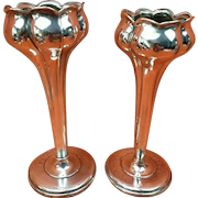 """Pair of Antique Sterling Silver Hallmarked Tulip Vases 5"""" 1904 J Gloster"""