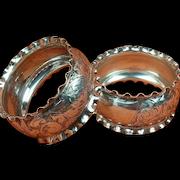 Pair of Antique Sterling Silver Hallmarked 1890 Napkin Rings, Minshull & Latimer