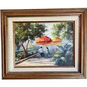 Charming Oil on Canvas River walk scene- Louise Kelly Trenton