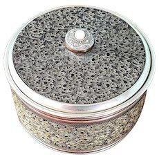 Art deco Musical powder puff box