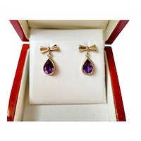 9ct Amethyst drop earrings