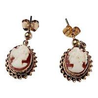 Vintage 9ct cameo drop earrings