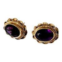 Vintage 375 gold and Amethyst Earrings