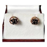 Vintage 9ct Sapphire cluster earrings