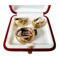 Gold on silver Stone set Ring with matching Earrings