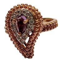 Vintage Rose Gold on 925 Silver Dress Ring