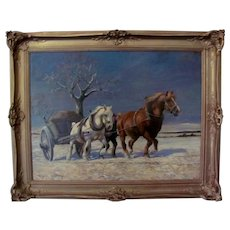 winter Landscape with horses drawing a cart, by Wilhelm Westrop