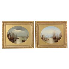 19th century oil, view London, the Thames, houses parliament, Francis Maltino