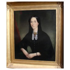 19th Century Portrait of a Young Woman oil on canvas