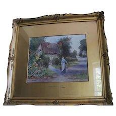 19th century Victorian genre landscape Warwickshire village cottage