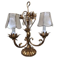 Italian Gold Gilt Tole and Shell Table Lamp
