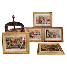 An Outstanding Set Of Five Exceptionally Sumptuous Framed Etchings, Antique Italian Framed Engravings, Rare Impressive Gravures, Admirable Prints, 18th Century
