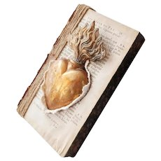 A Magnificent Antique French Book With A Majestic Gilded Ex Voto - Sacred Heart, A Sumptuous Wall Mounted Book With The Sacré Coeur, 19th Century