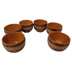 Vintage wooden pyrography cups, set of six