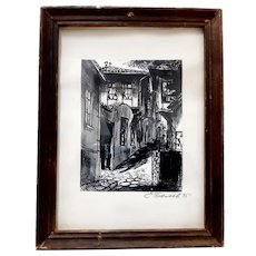 Ink drawing by S. Belev-old Bulgarian town