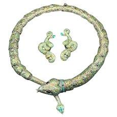 Margot De Taxco Green Enamel Sterling Silver Snake Serpent Choker Necklace and Earrings set